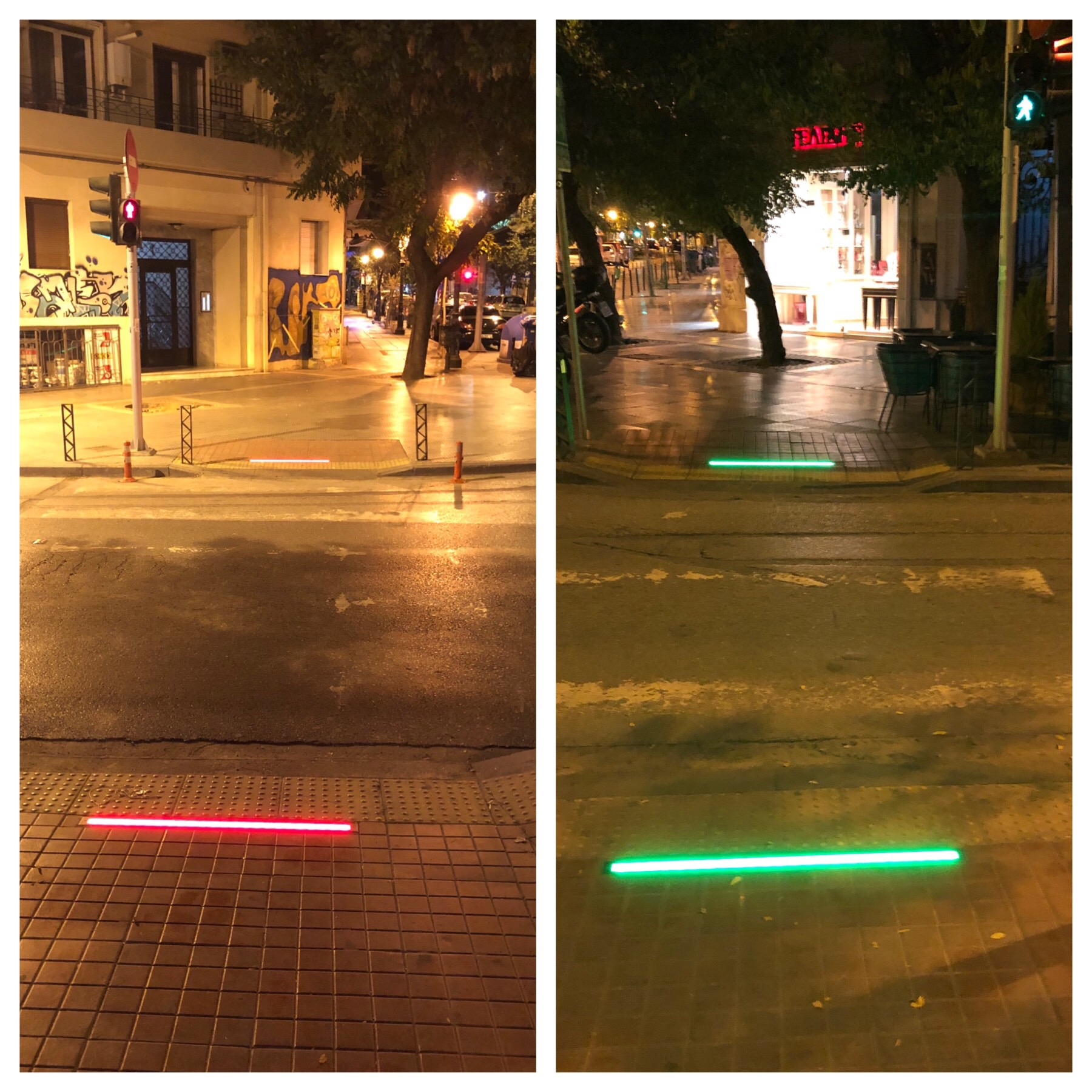 Man traut sich nicht zu gehen. Eine tolle Erfindung für die Sicherheit von Fußgängern.